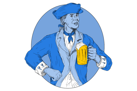 American Patriot Holding Beer Mug Oval Drawing example image 1