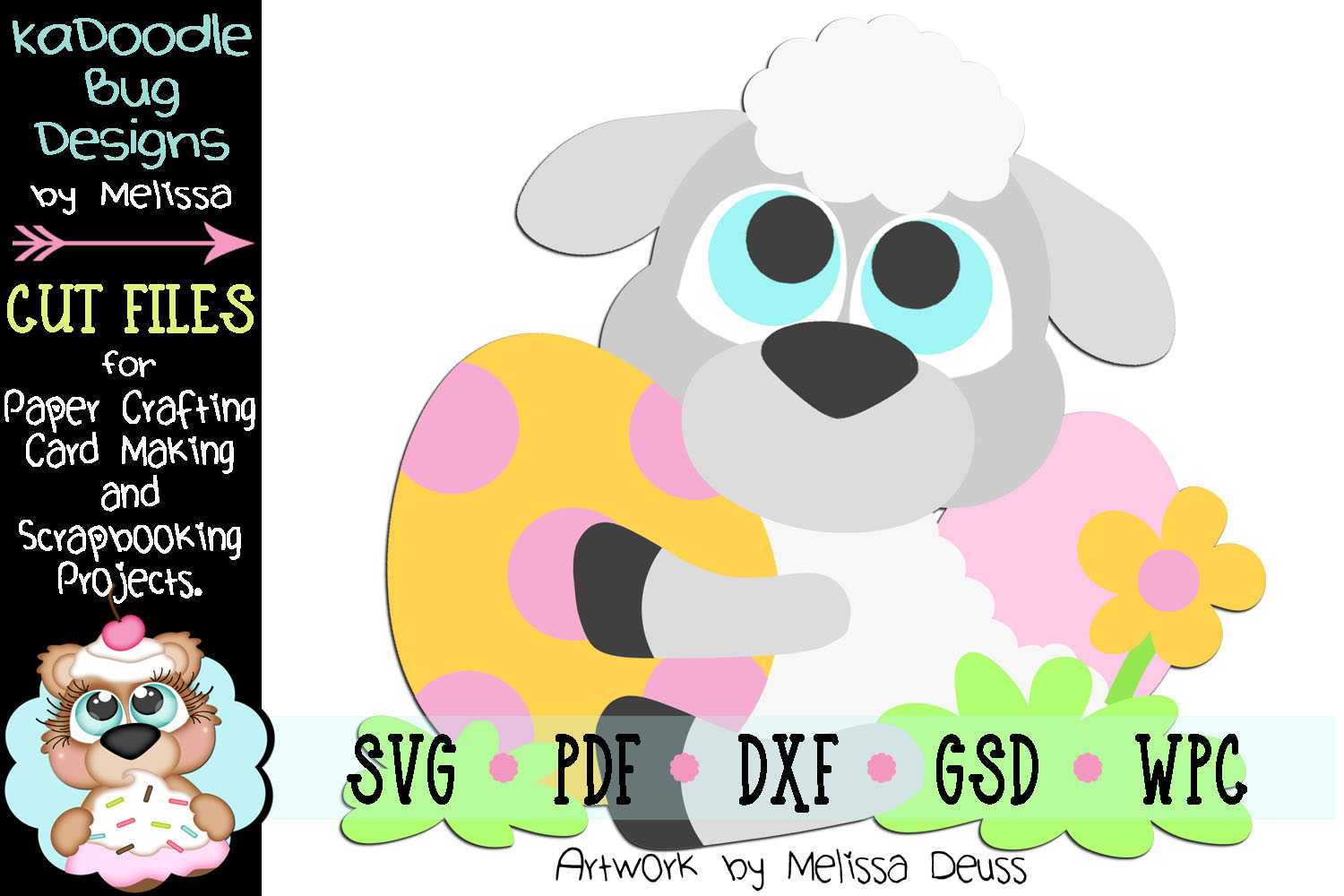 Spring Easter Egg Lamb Cut File - SVG PDF DXF GSD WPC example image 1