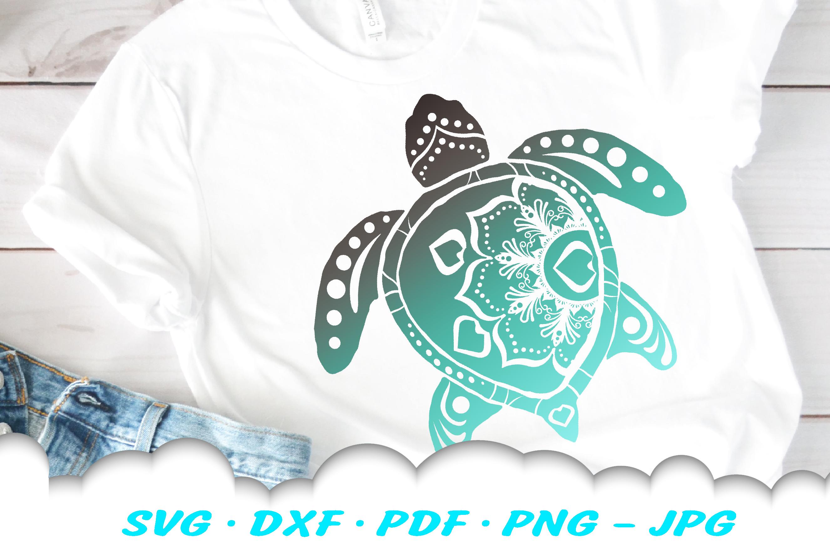 Mandala Sea Turtle SVG DXF Cut Files Bundle example image 2