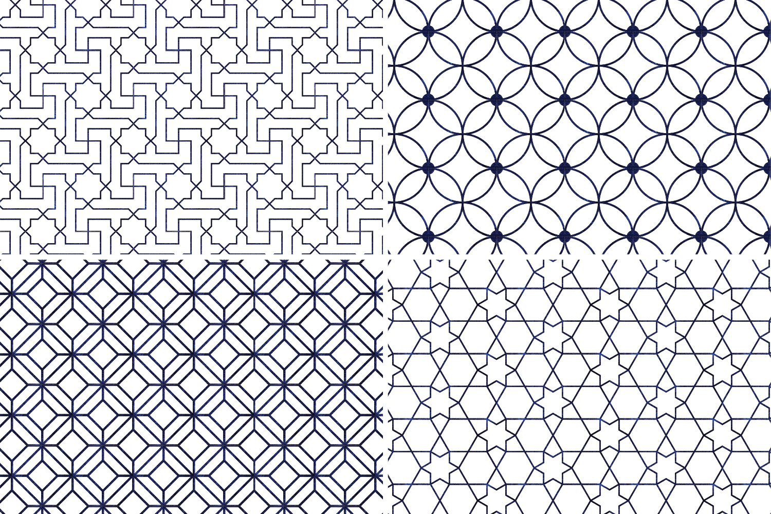 8 Seamless Moroccan Patterns - White & Blue Watercolor Set 3 example image 6