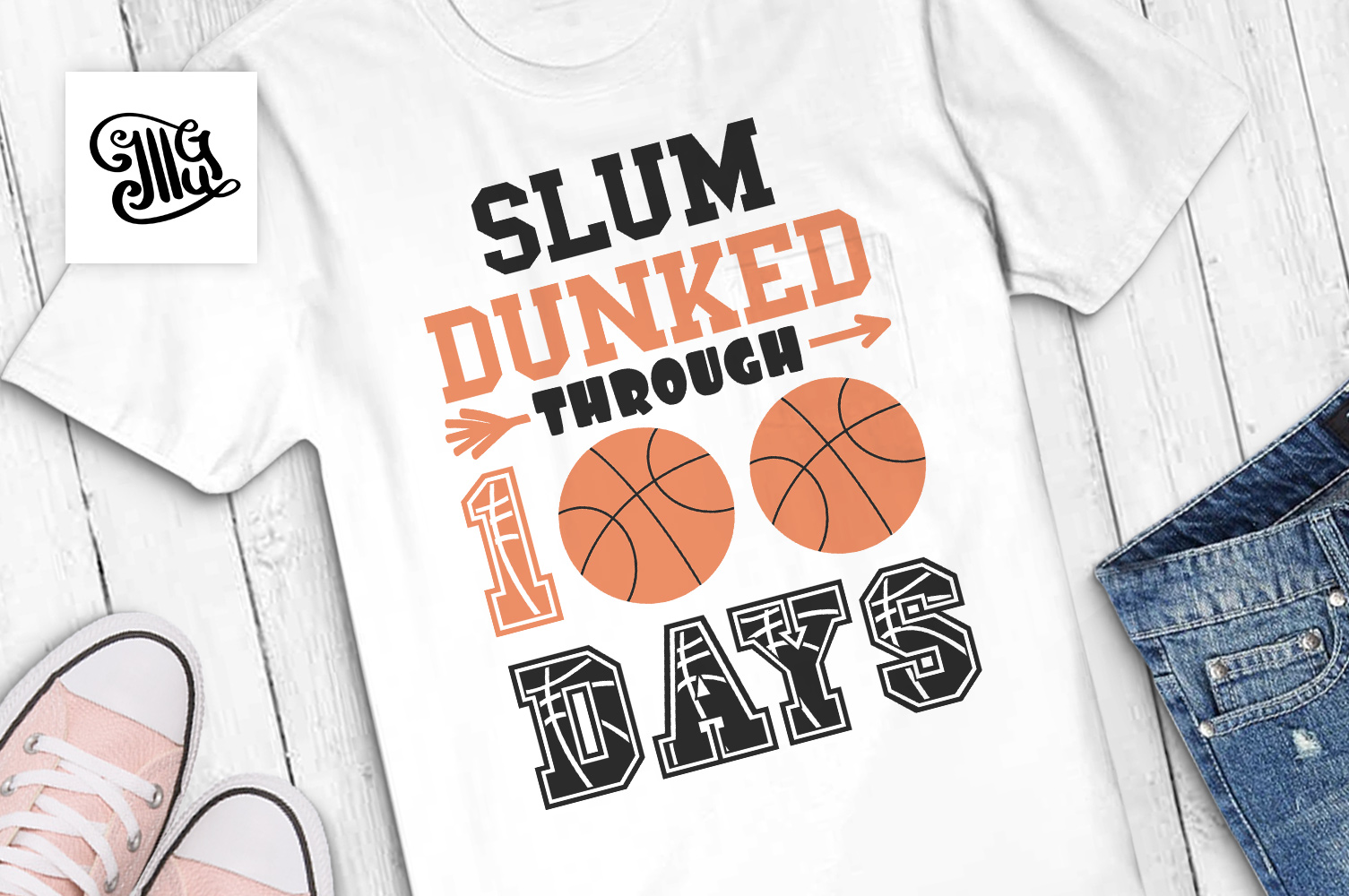 100 days of school basketball svg example image 1