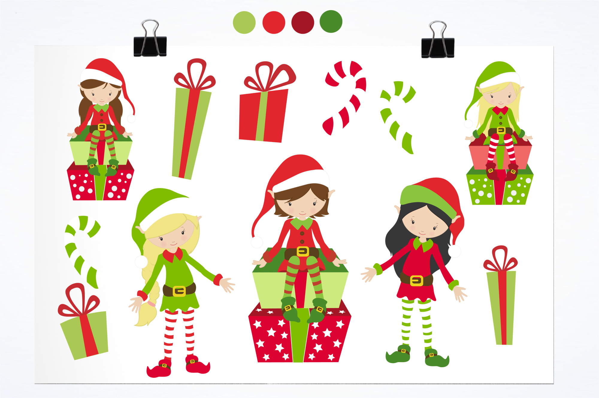Elves and Gifts graphics and illustrations example image 2