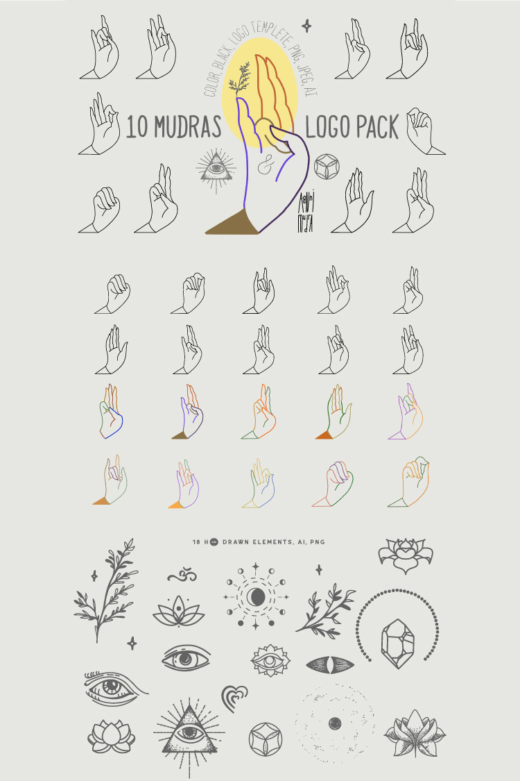 10 Mudras & Logo Pack. SVG/Ai/PNG example image 11