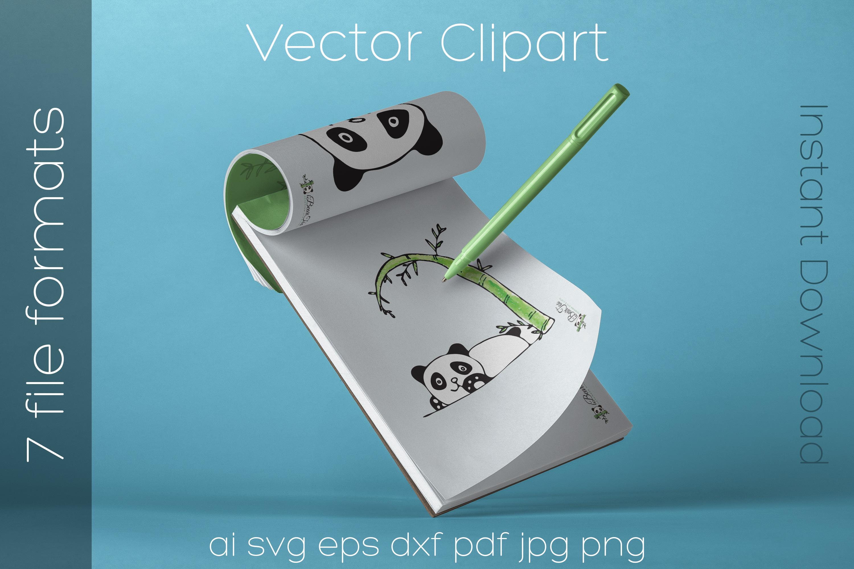 Panda SVG Watercolor Clipart Bear Drawing Vector Cut File example image 3