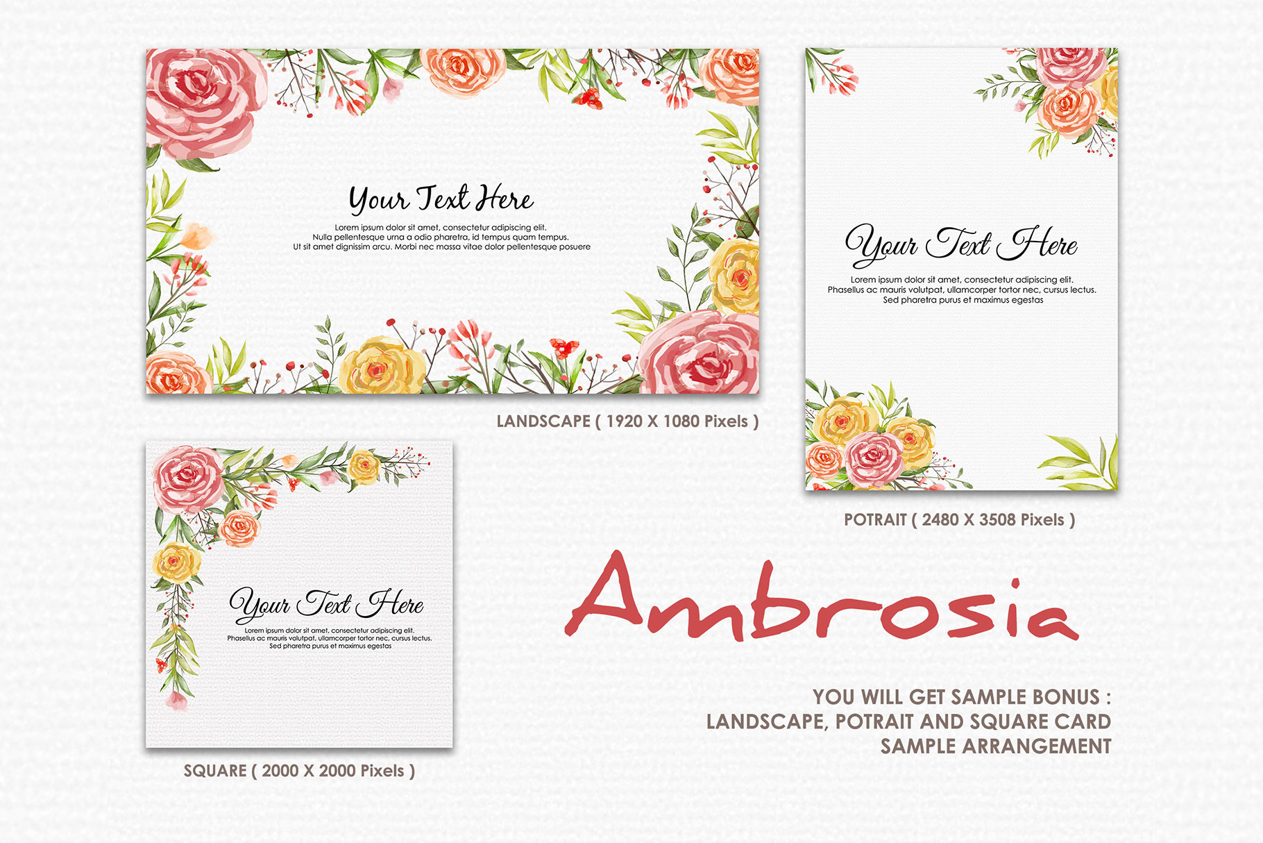 Ambrosia - Digital Watercolor Floral Flower Style Clipart example image 4