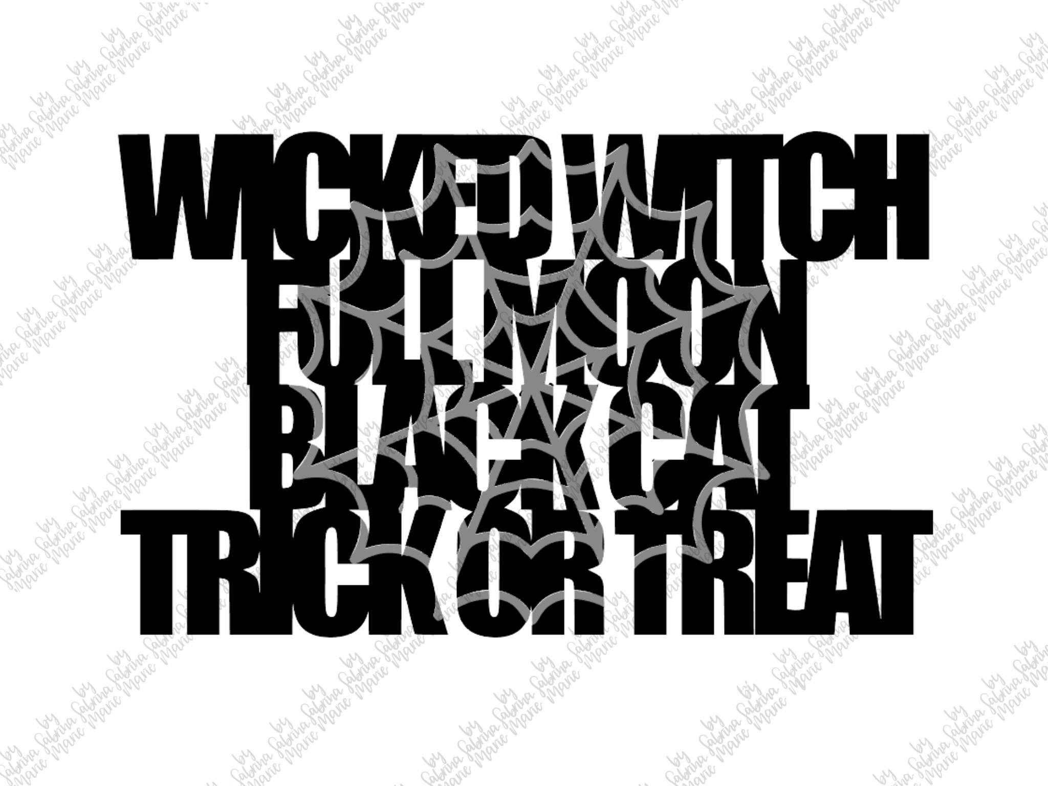 Handdrawn Halloween Knockout Design with Spider Web- SVG/PNG example image 2