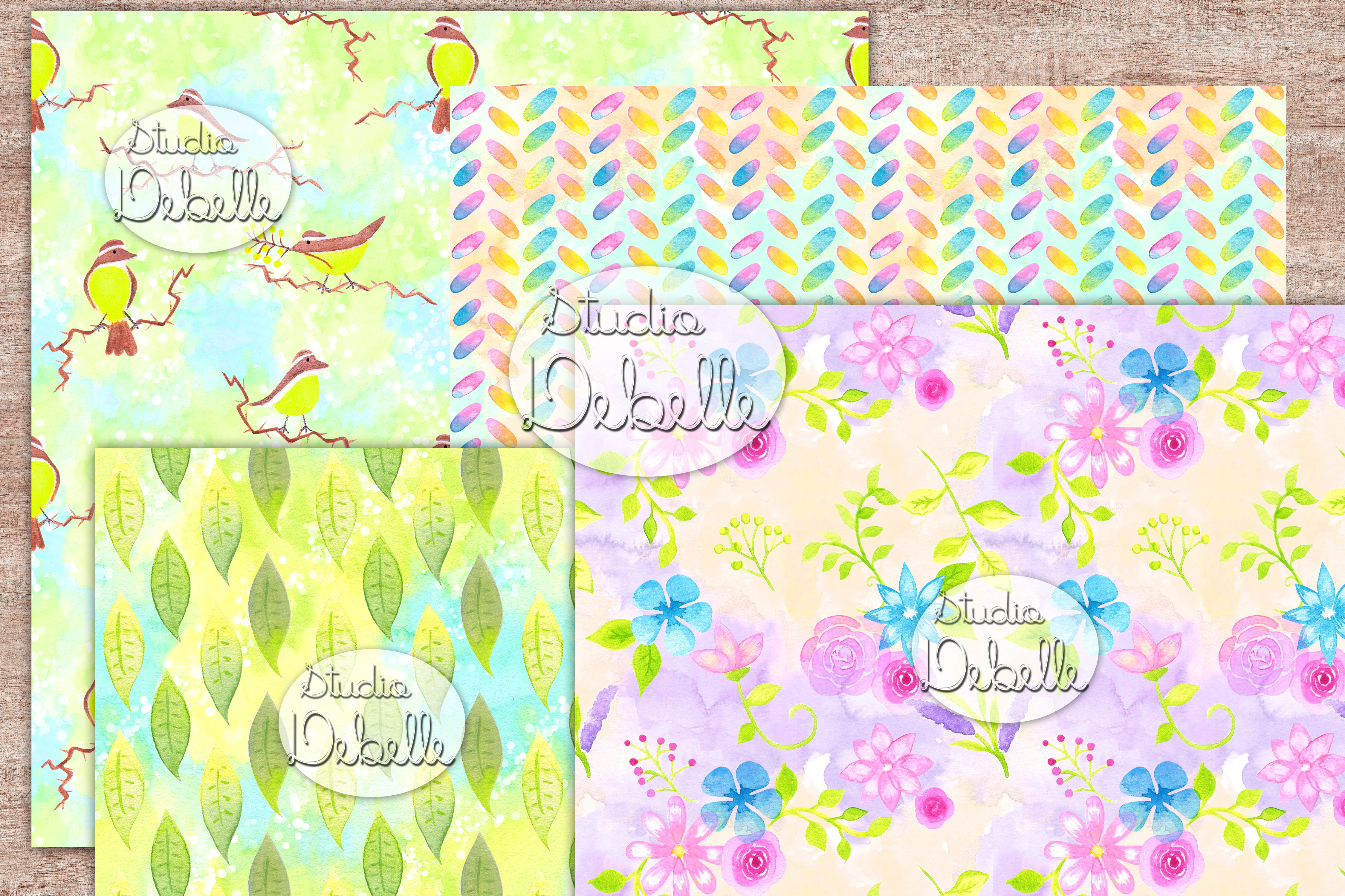 Watercolor Lovely Flowers - digital papers seamless patterns example image 4