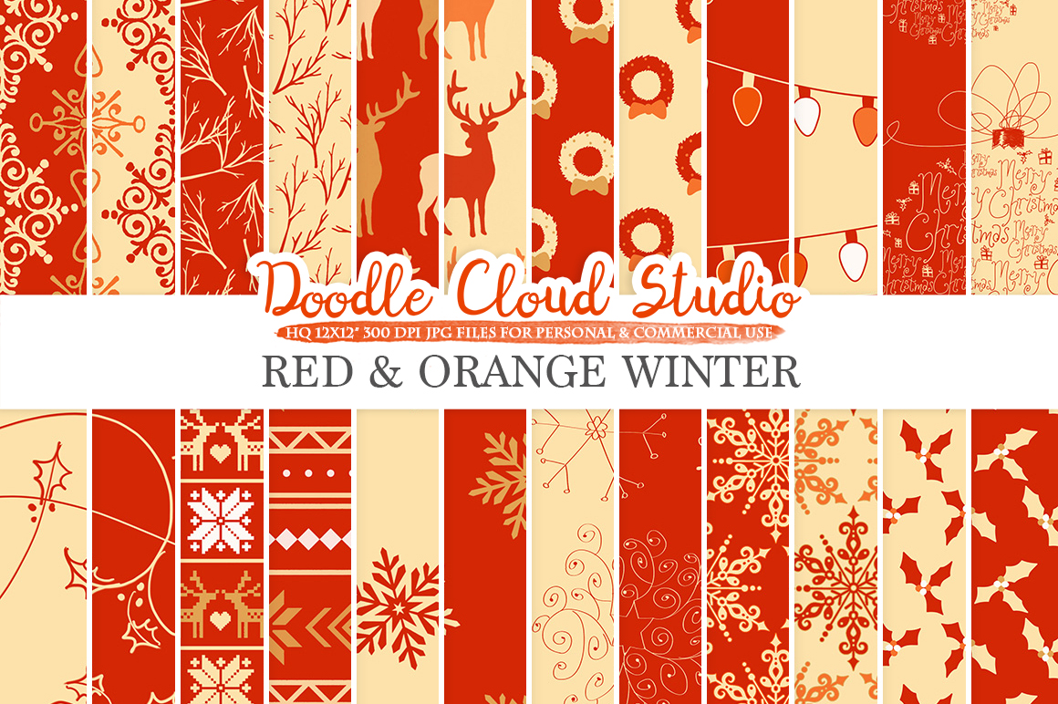 Red and Orange Winter digital paper, Red and Gold Christmas Holiday patterns, Stars Snow deers X-mas backgrounds Personal & Commercial Use example image 2