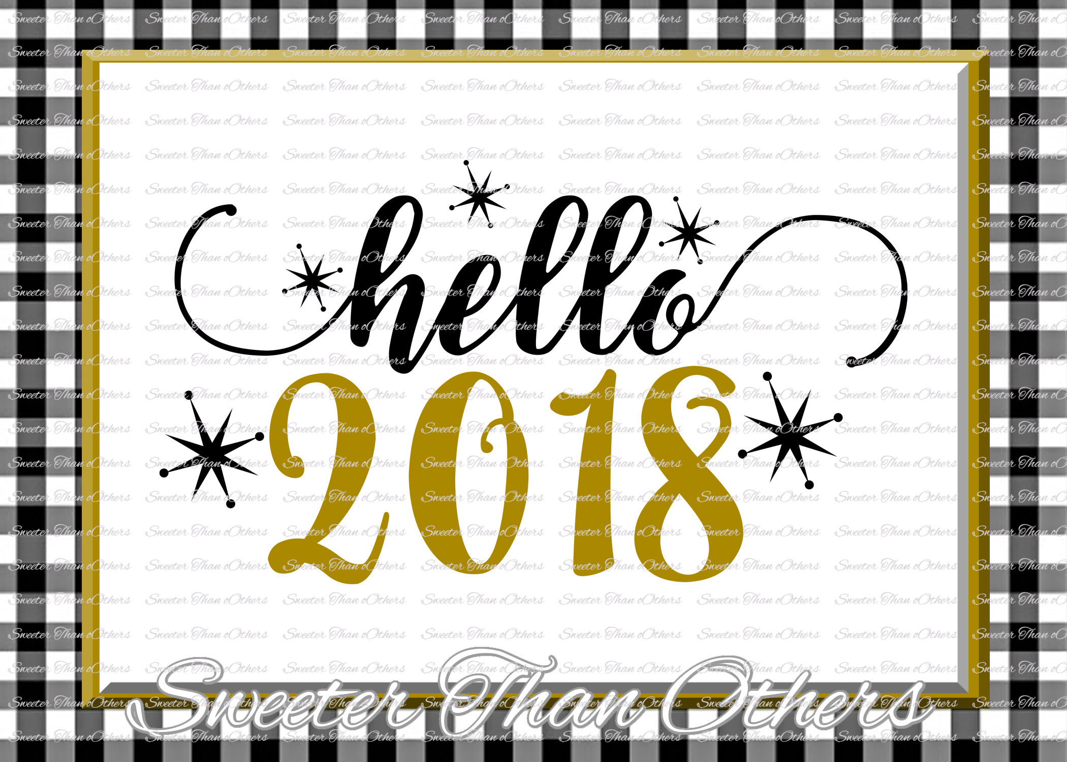 Hello 2018 svg, New Year 2018 SVG example image 1