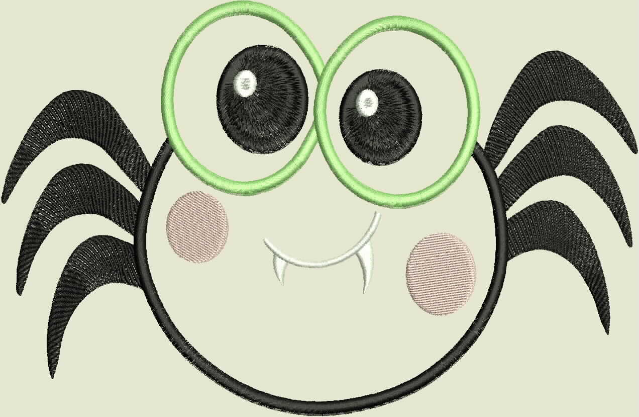 Green Eyed Halloween Spider Embroidery/Applique Design example image 2