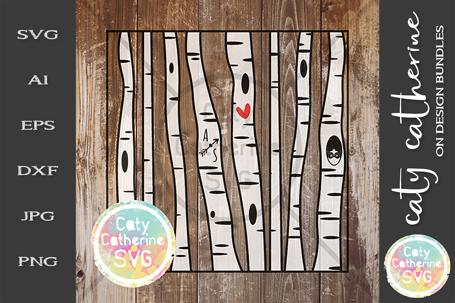 Editable Birch Tree Carve Initials SVG Love Heart Couple example image 1