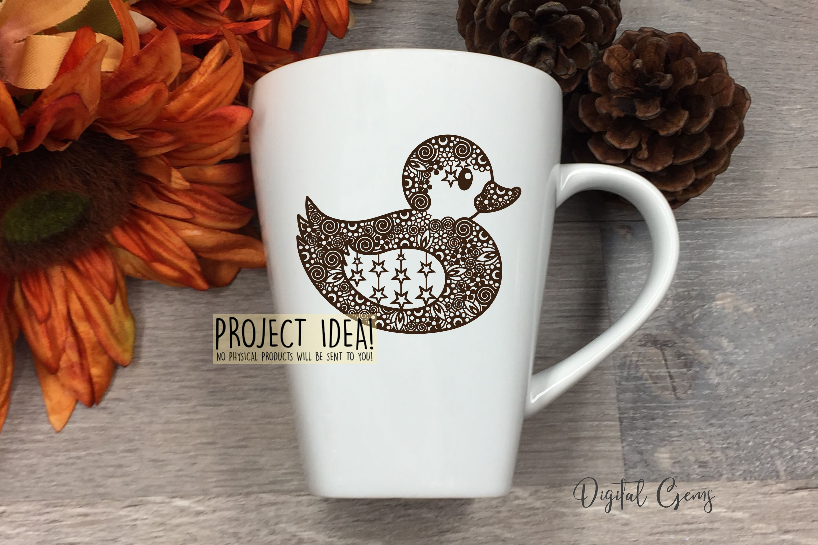 Duck paper cut design. SVG / DXF / EPS / PNG files example image 5
