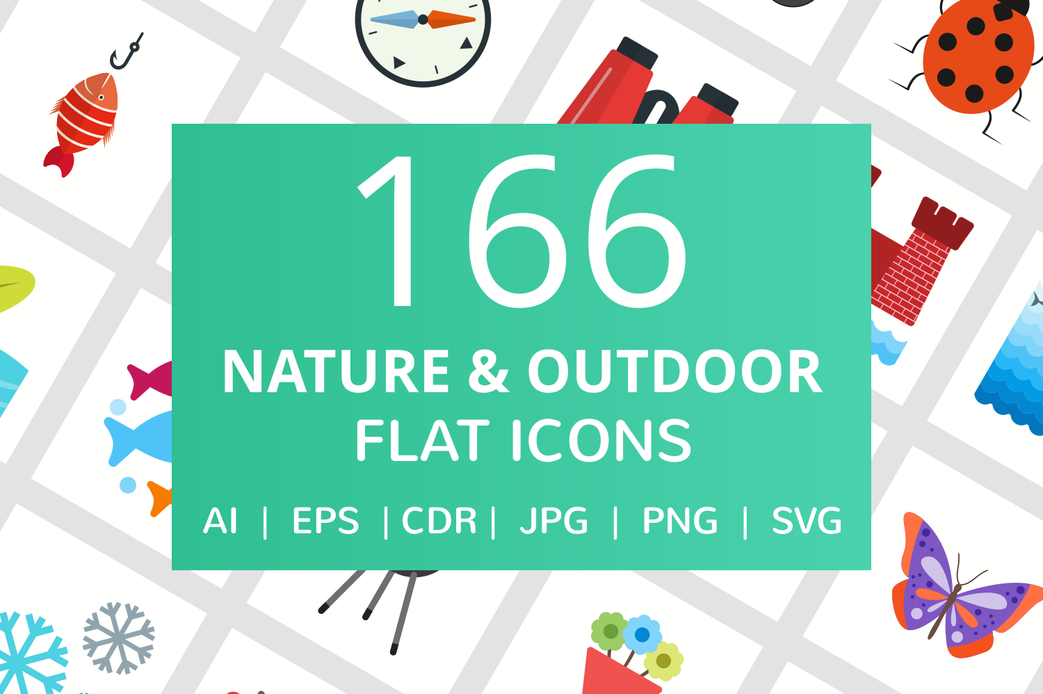 166 Nature & Outdoor Flat Icons example image 1