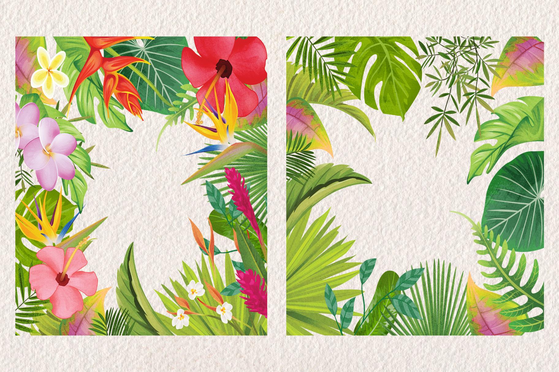 Tropical Floral Plants & Frames Set example image 5
