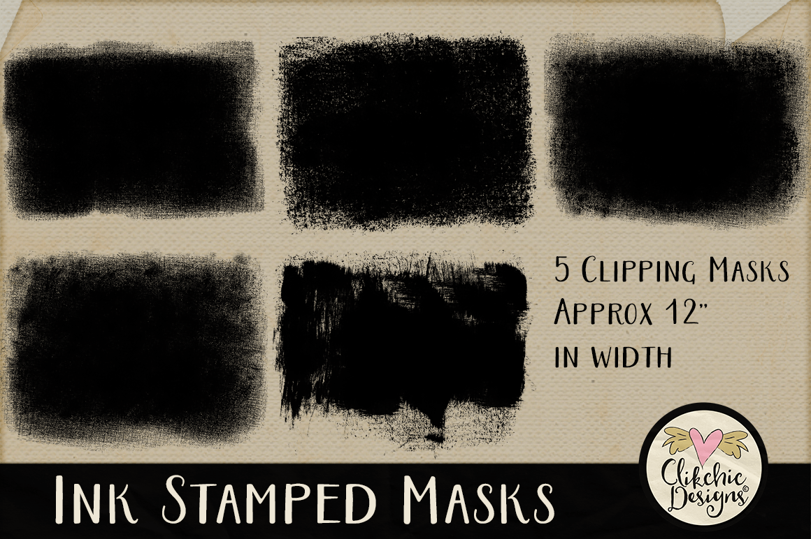Ink Stamped Photoshop Clipping Masks & Tutorial example image 2