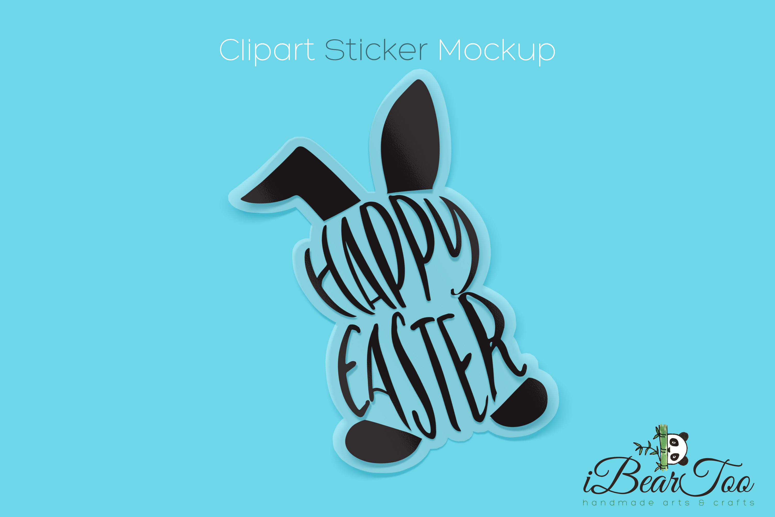 Happy Easter Bunny SVG Rabbit Black Clipart Vector Cut Files example image 5