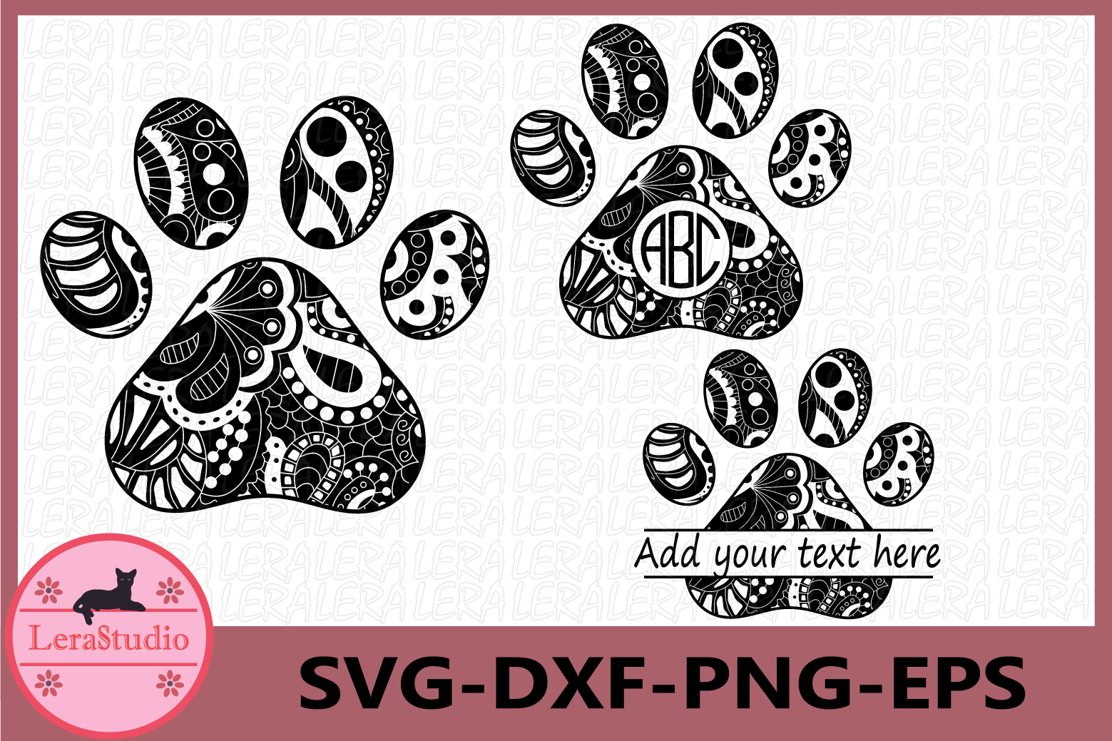 Paw Zentangle SVG, Animals Svg, Paw Monogram svg, Vector example image 1