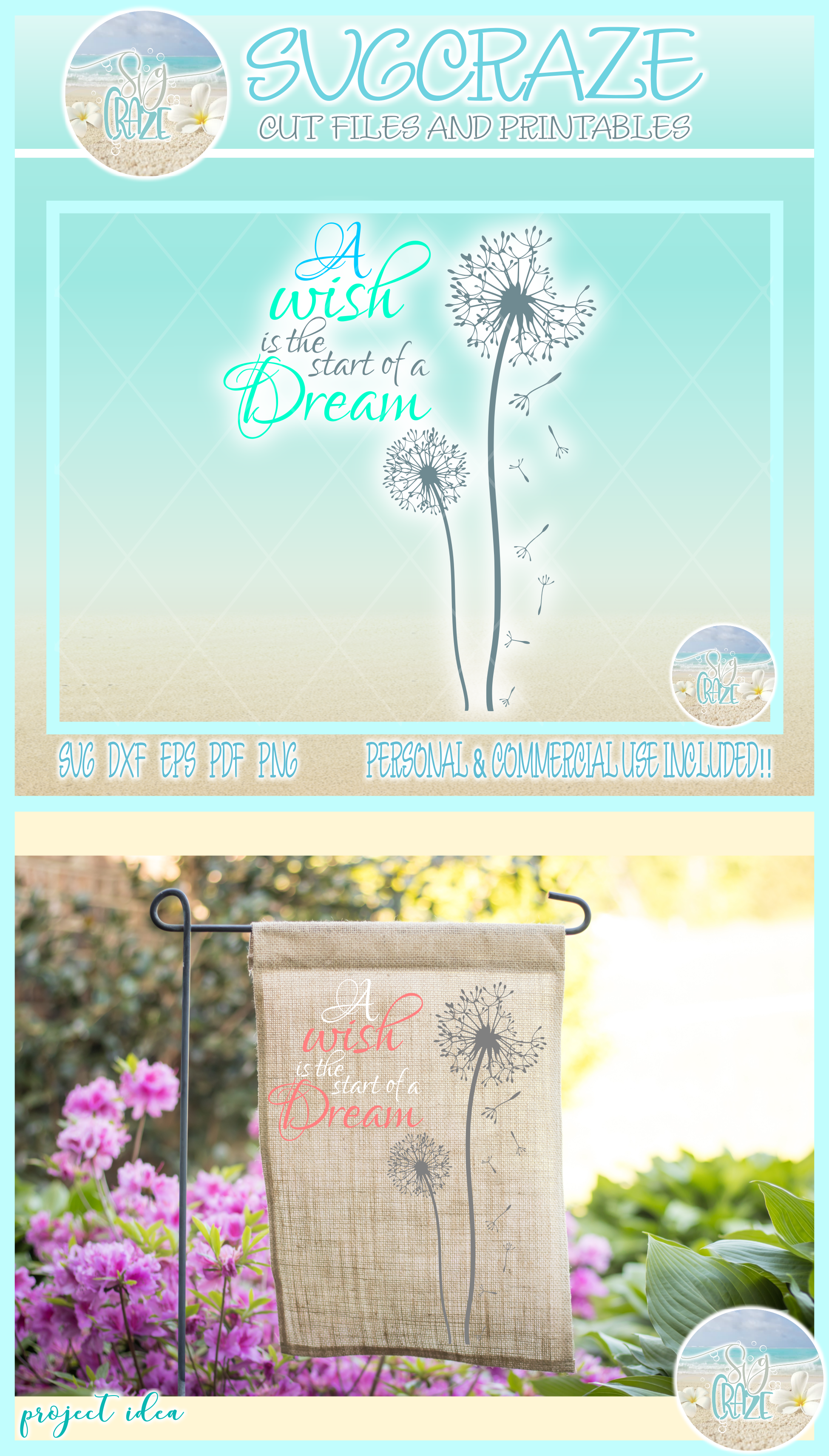A Wish Is The Start Of A Dream Quote Dandelion SVG example image 4