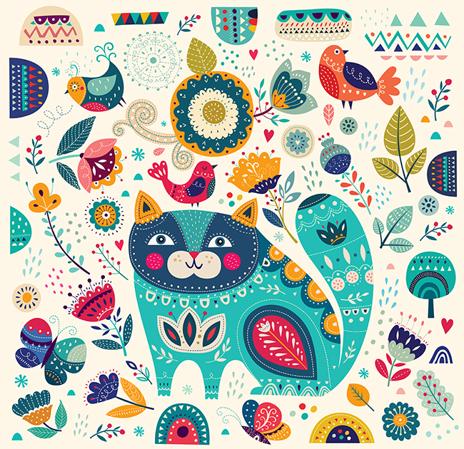 Illustration with cat and flowers example image 3