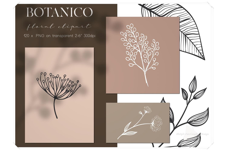 Line Art Botanical Clipart - Linear Floral Design Kit example image 1