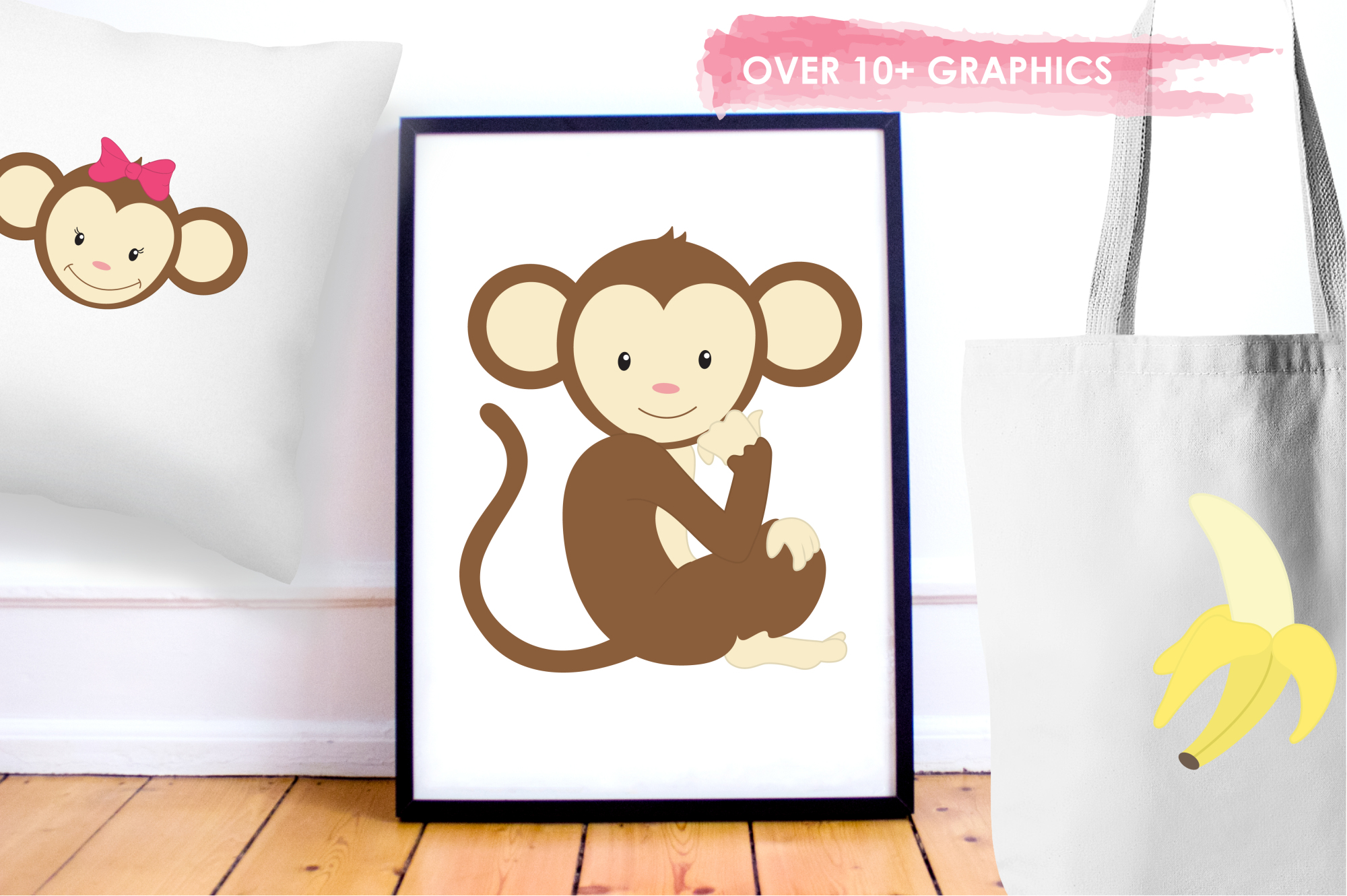 Pretty Monkeys graphics and illustrations example image 5