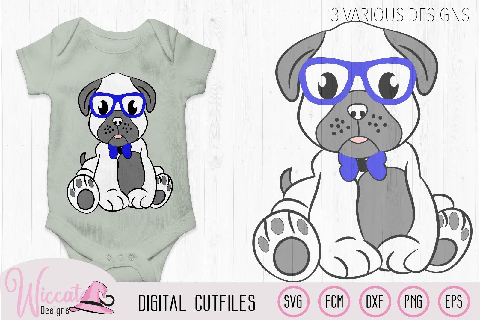 Boy pug svg, Hipster pug svg, pug svg, pug glasses svg, example image 3