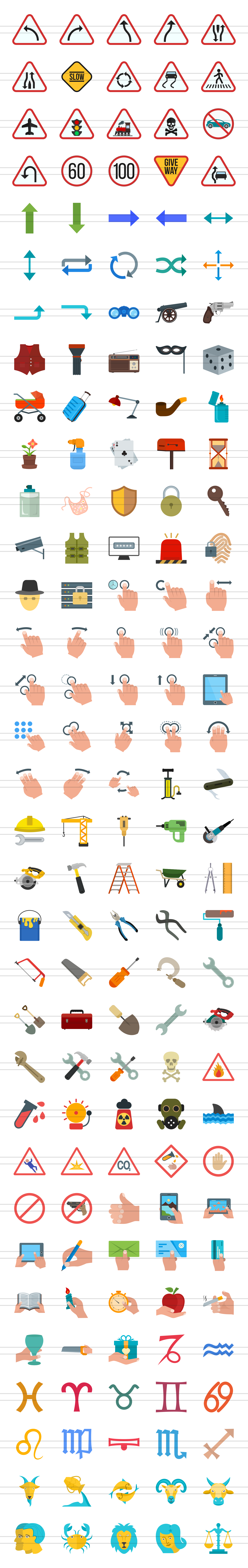 166 Signs & Symbols Flat Icons example image 2