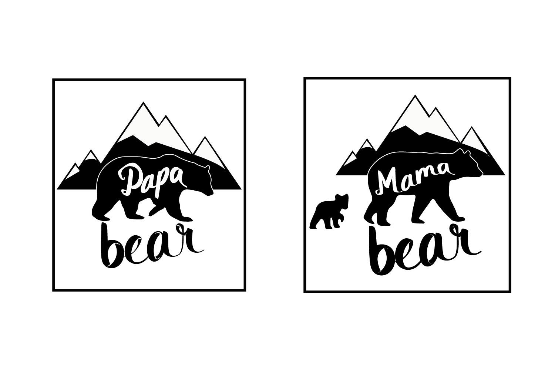 Papa Bear Mama Bear Svg Dxf Png Jpg Eps vector file Cut File example image 1