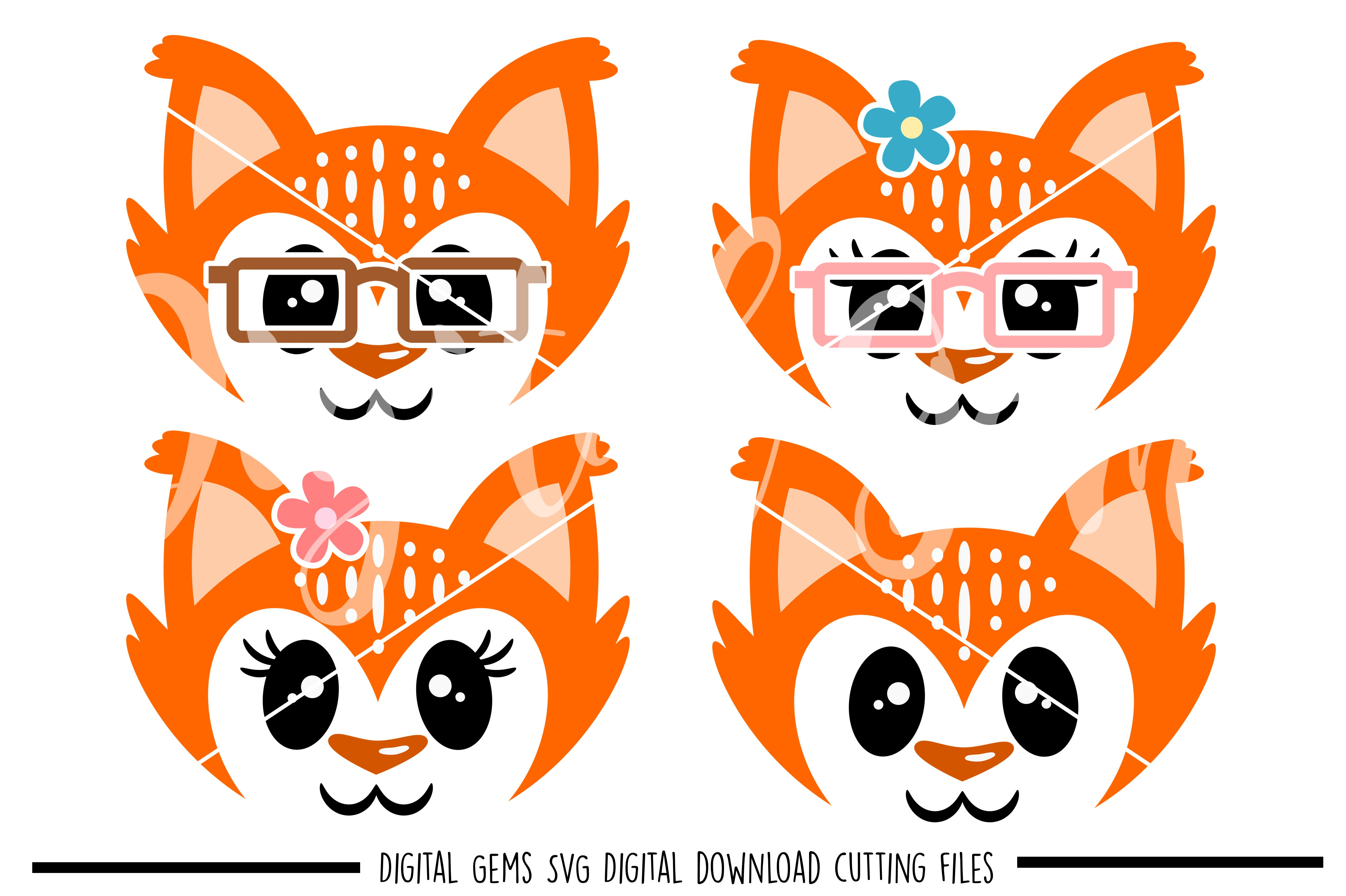 Fox faces SVG / PNG / EPS / DXF Files example image 1