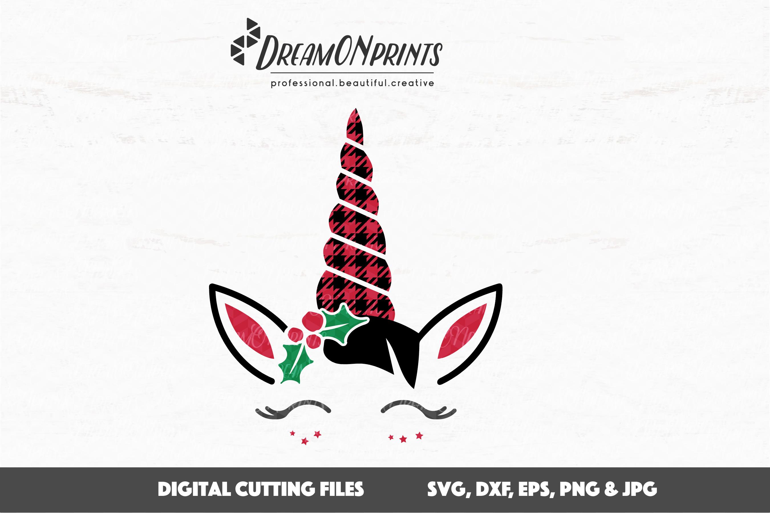 Christmas Unicorn SVG Cut Files - Buffalo Plaid Unicorn example image 2
