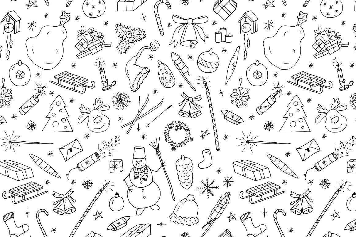 Hand drawn christmas elements set. example image 8