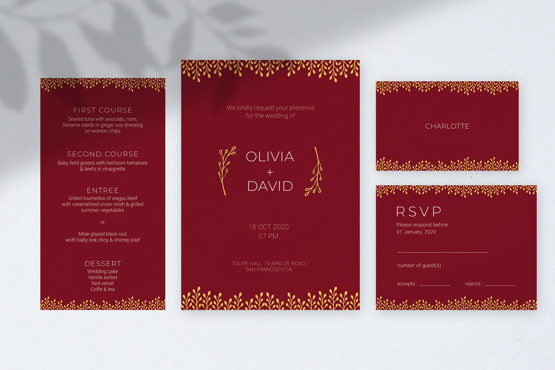 Burgundy Wedding Invitation example image 2