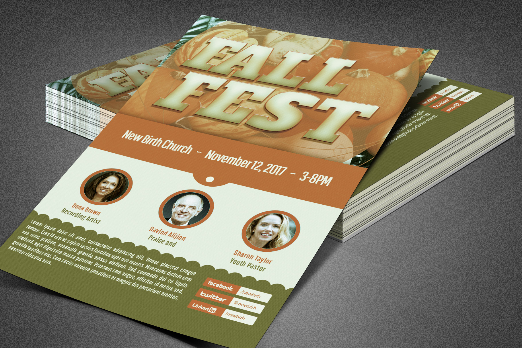 Fall Fest Church Flyer Template example image 3