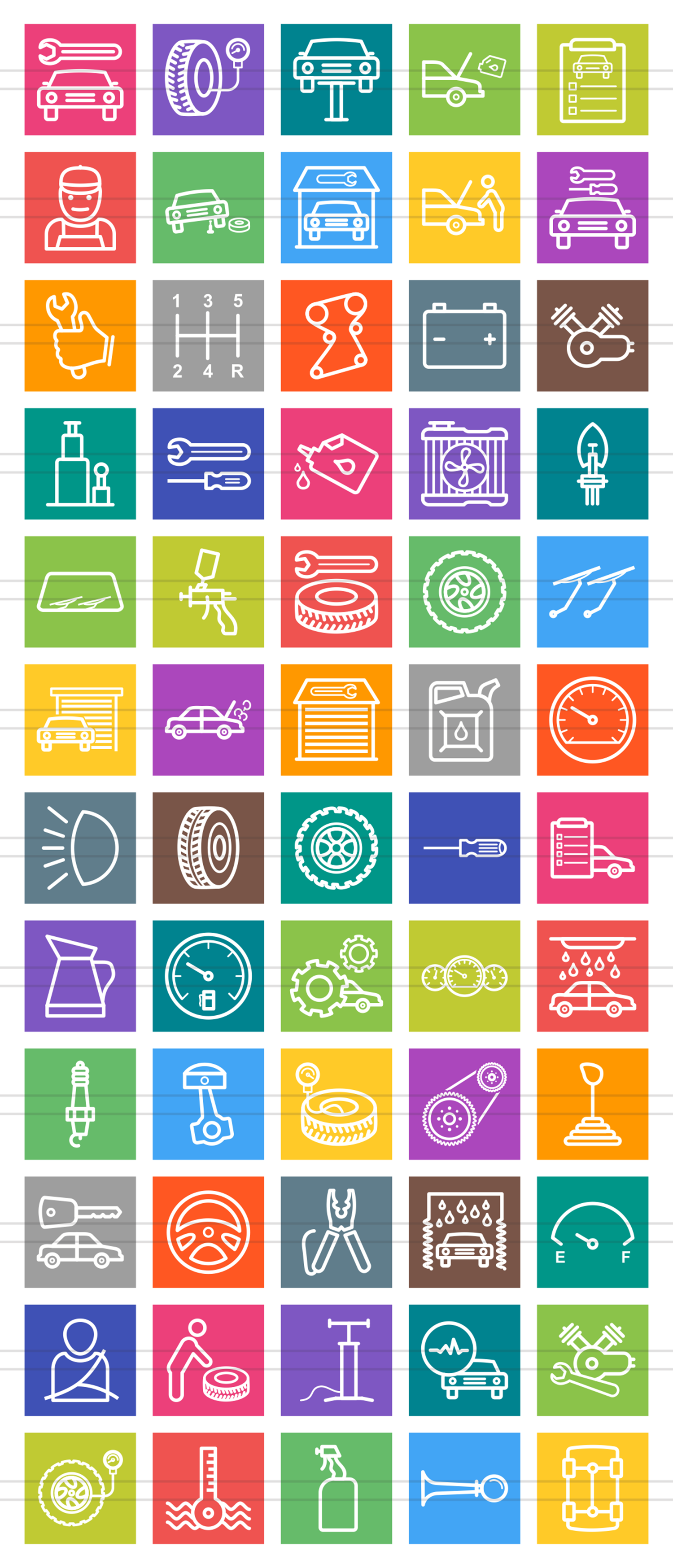 60 Car Servicing Line Multicolor B/G Icons example image 2