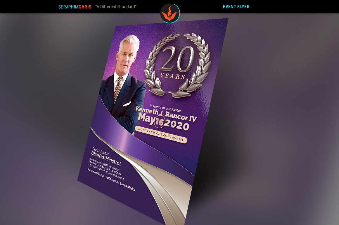 Lavender Pastor's Anniversary Church Flyer Template example image 2