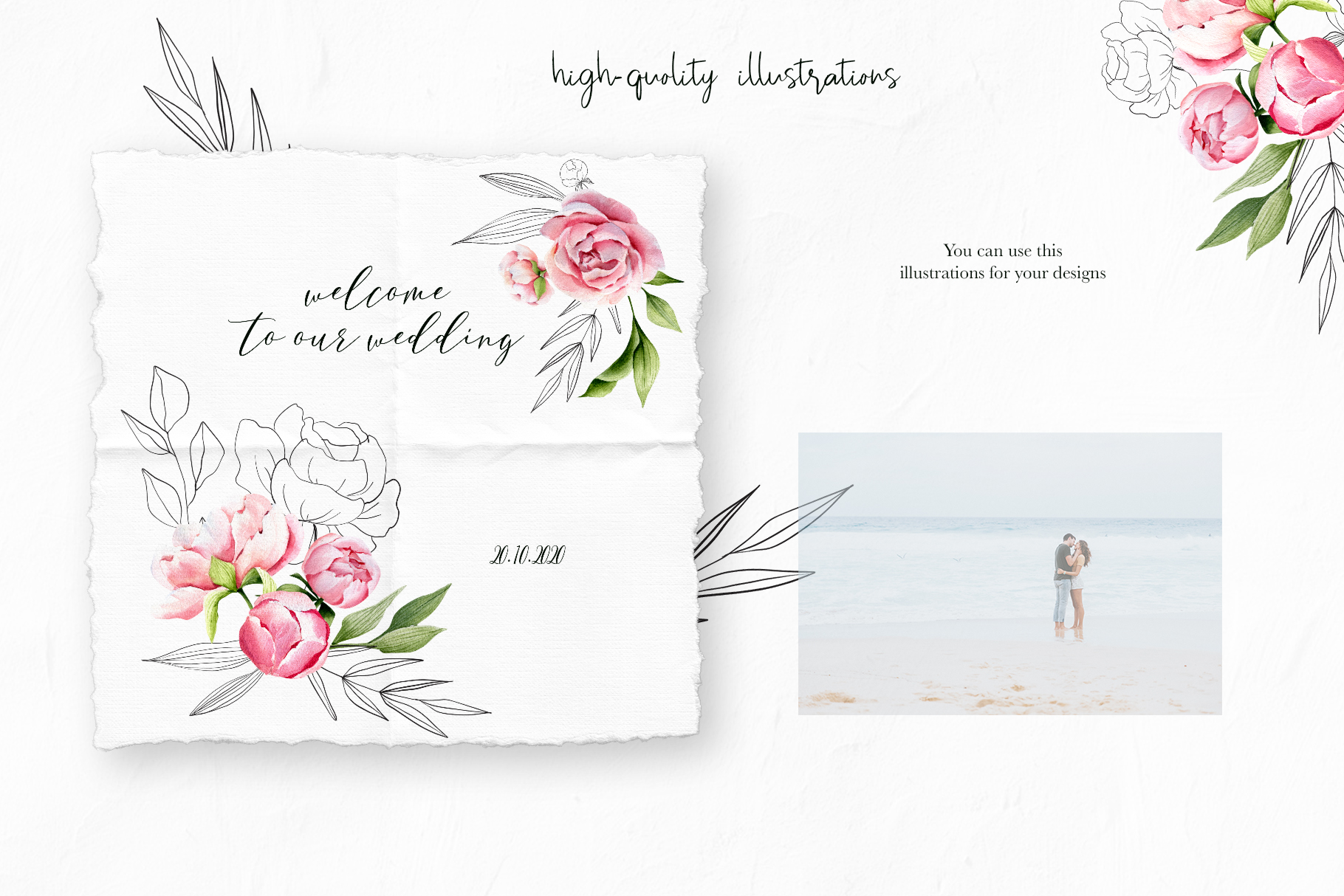 Watercolor summer pink peonies, wedding clipart, spring example image 5