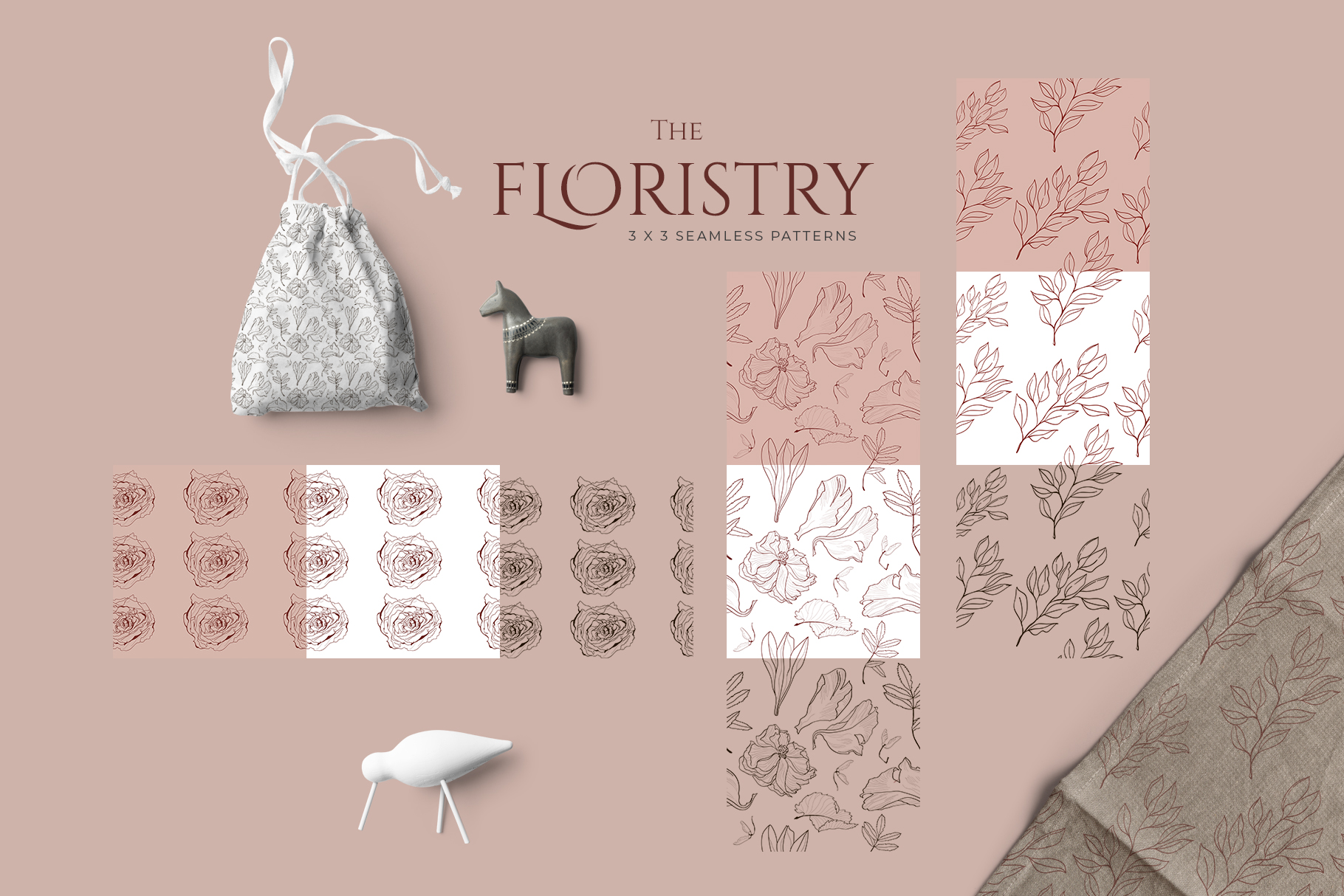 THE FLORISTRY floral collection - watercolor, line art, real example image 12