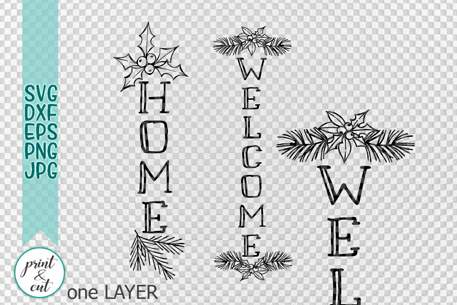 Christmas WELCOME HOME porch sign svg dxf file to cut example image 2