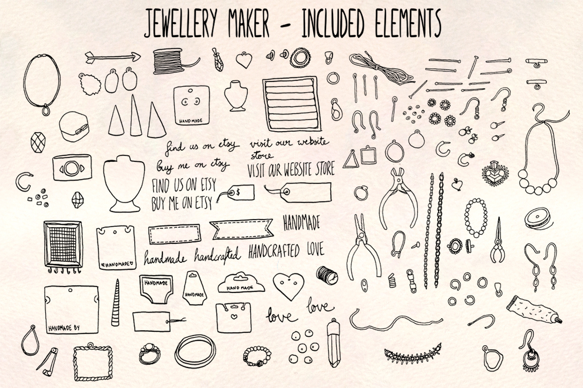 40 Jewelry and Craft Making Hand Drawn Graphics Bundle example image 2