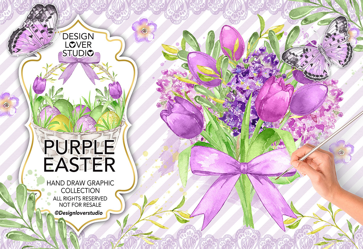 Watercolor PURPLE EASTER design example image 1