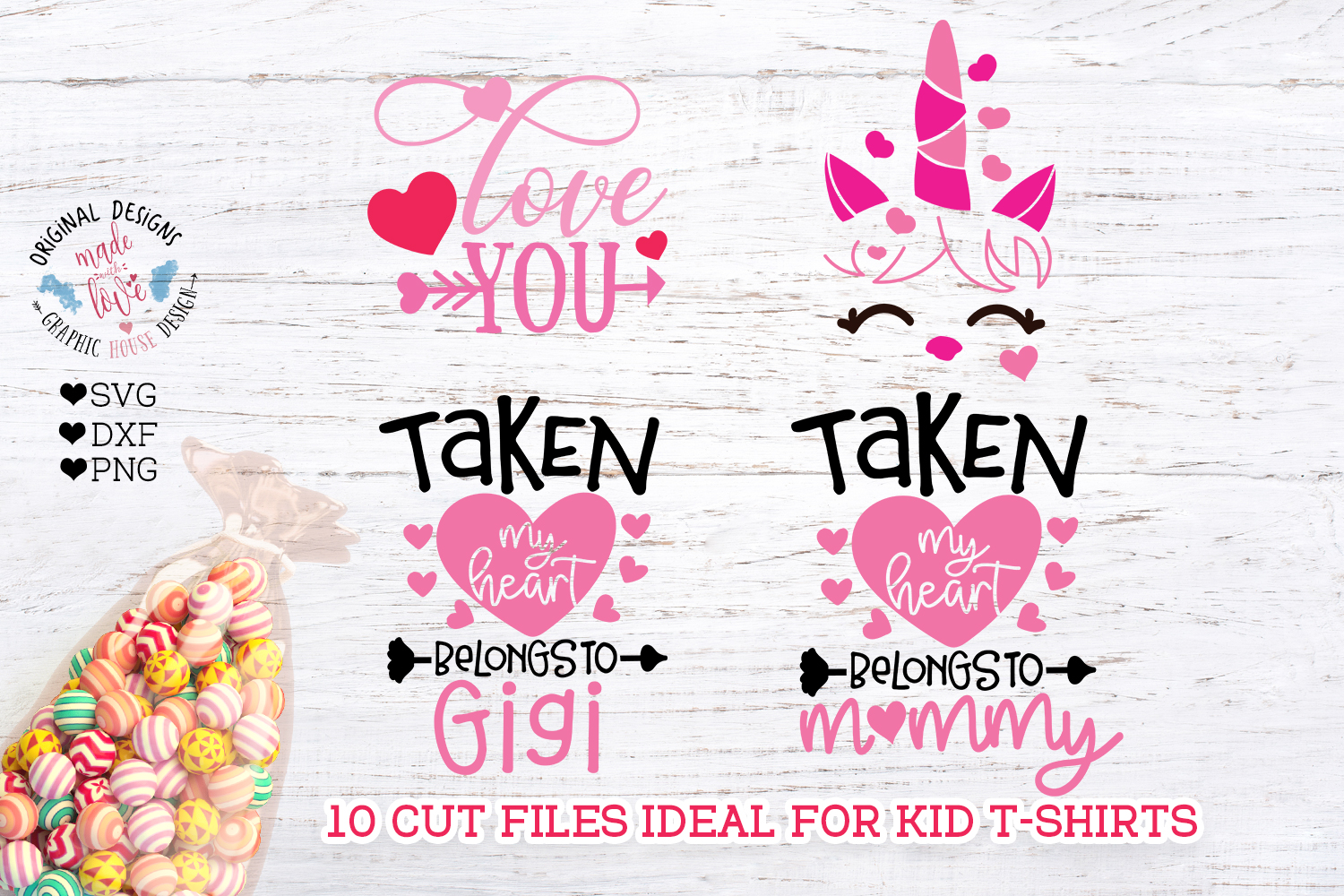 Valentine's Day Kids Baby T-Shirt Cut Files example image 3
