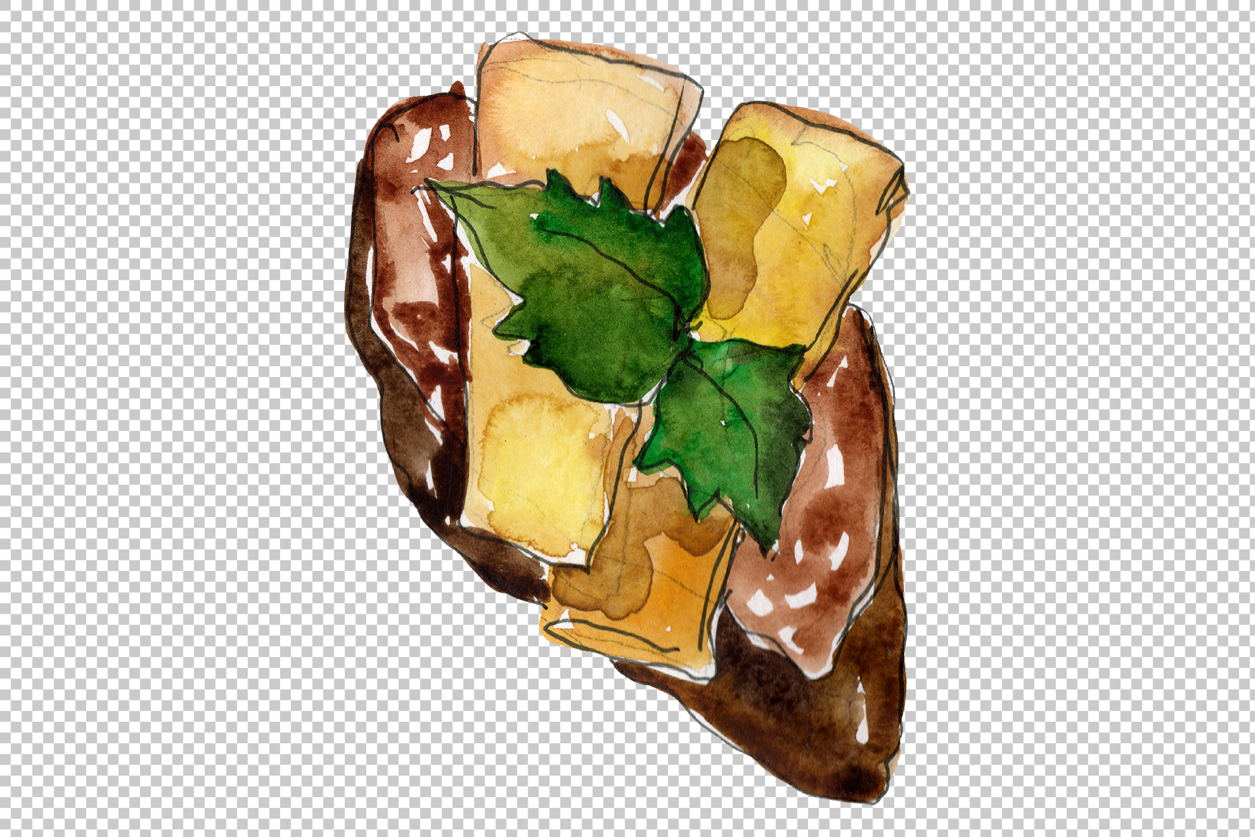 Sandwich sausage Watercolor png example image 2