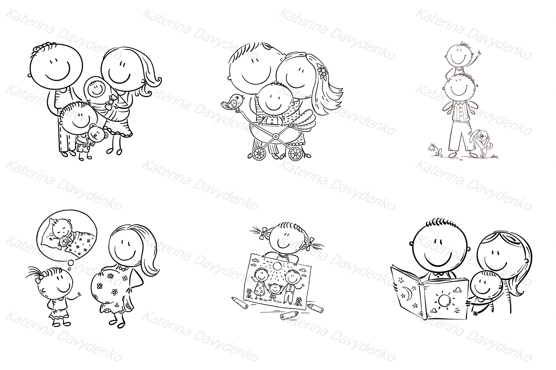 Happy doodle families bundle, vector example image 6