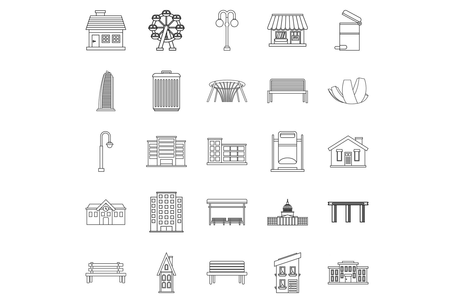 Interesting places icons set, outline style example image 1