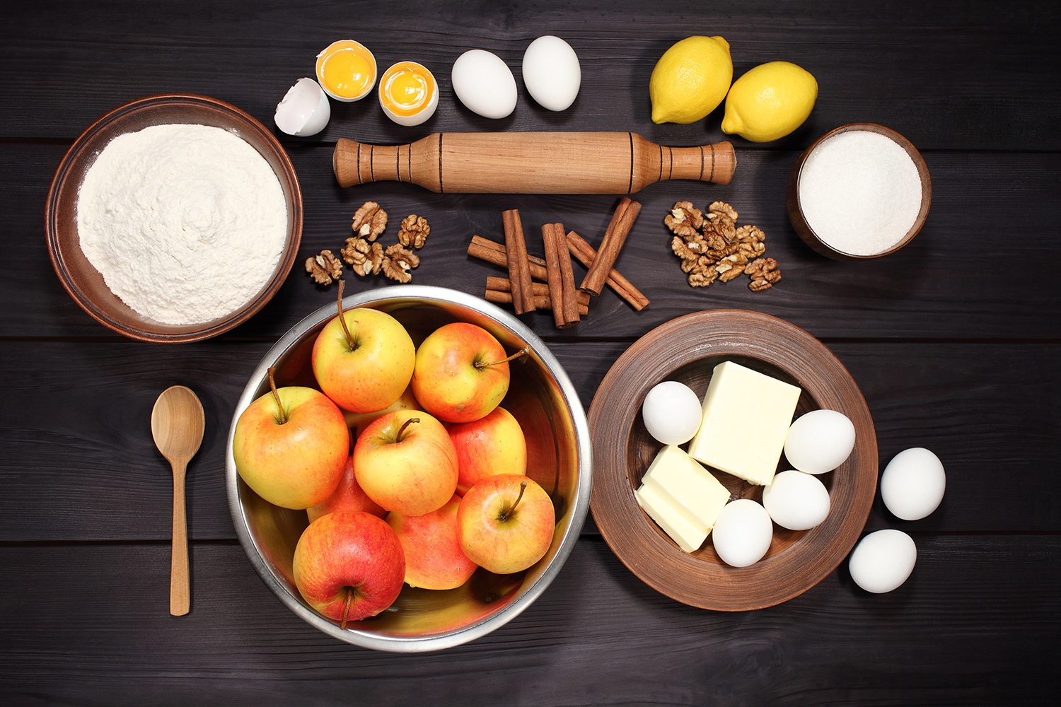 Set 12 photos Apple Pie and raw ingredients for baking. Sweet food series. Dessert. Top view example image 4
