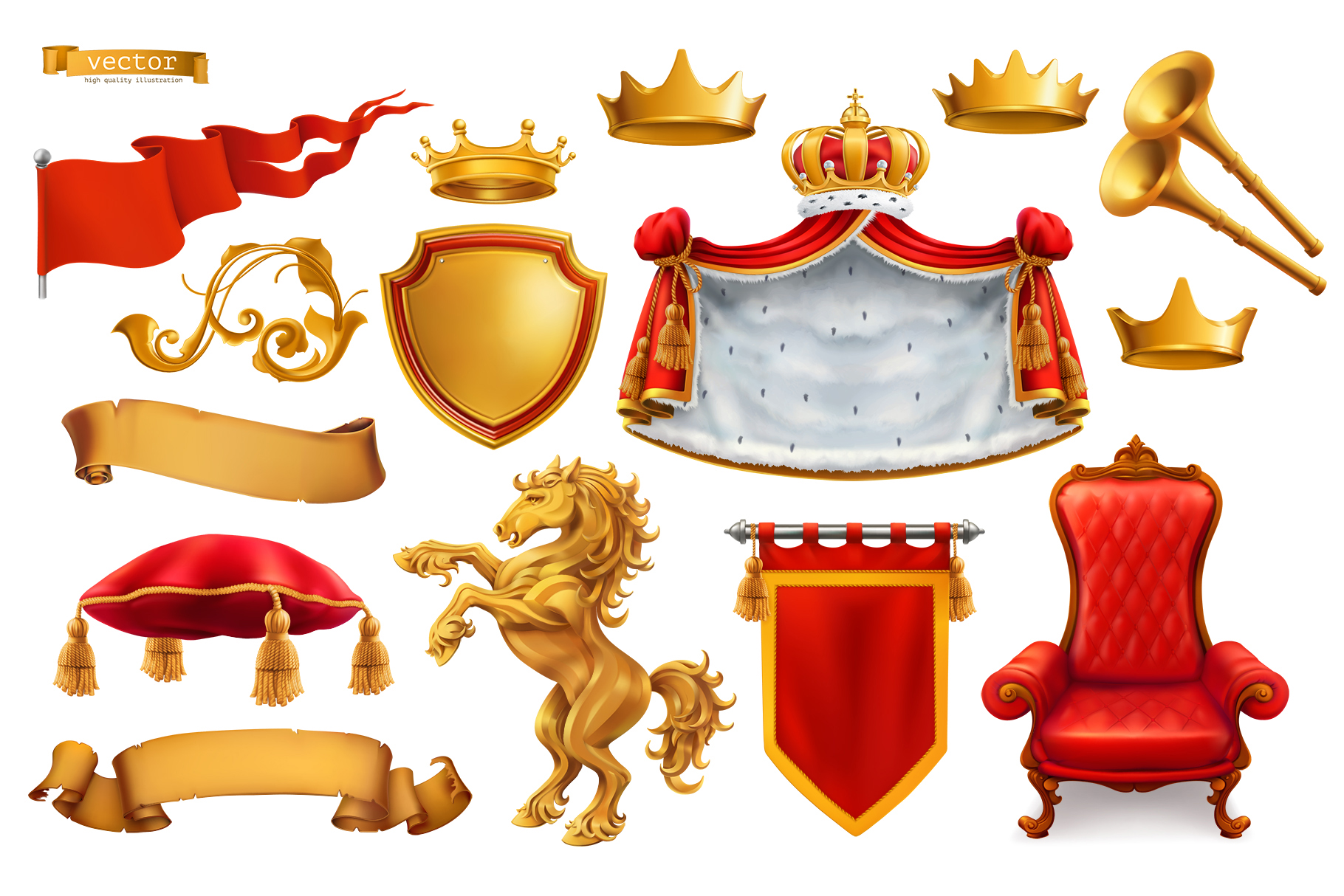 Heraldic set. Award. Royal crown, queen, king symbol, vector example image 1