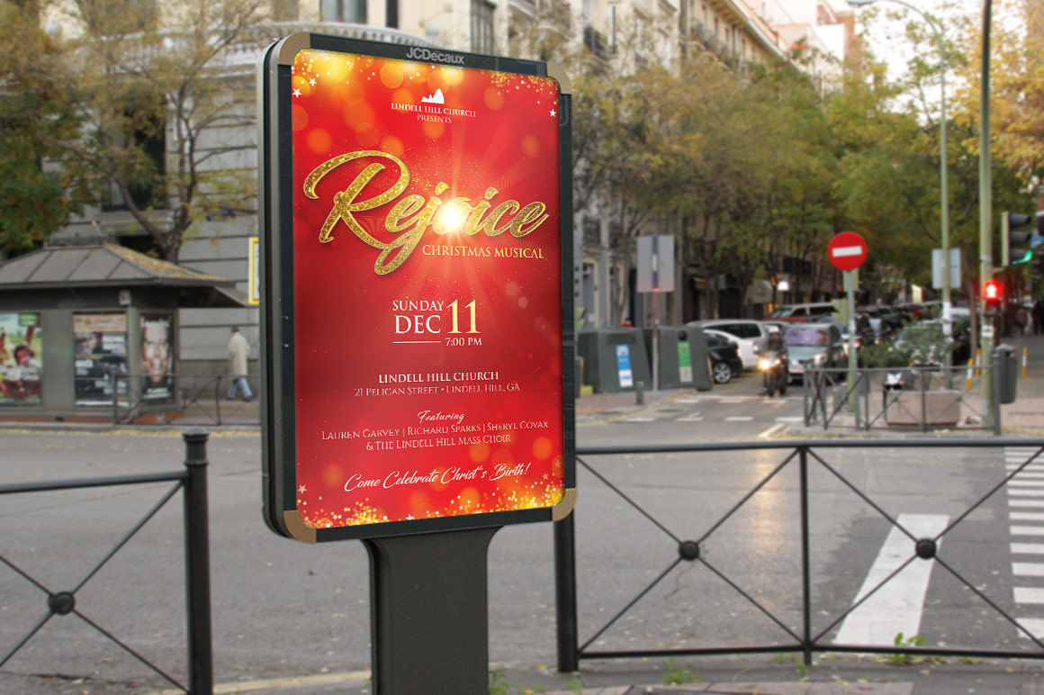 Rejoice Christmas Flyer Poster Template example image 4