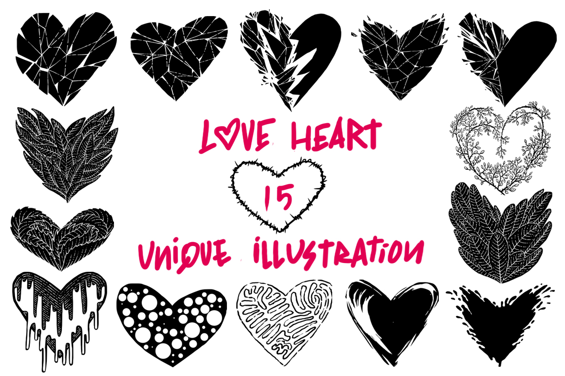 Love heart unique illustration example image 1