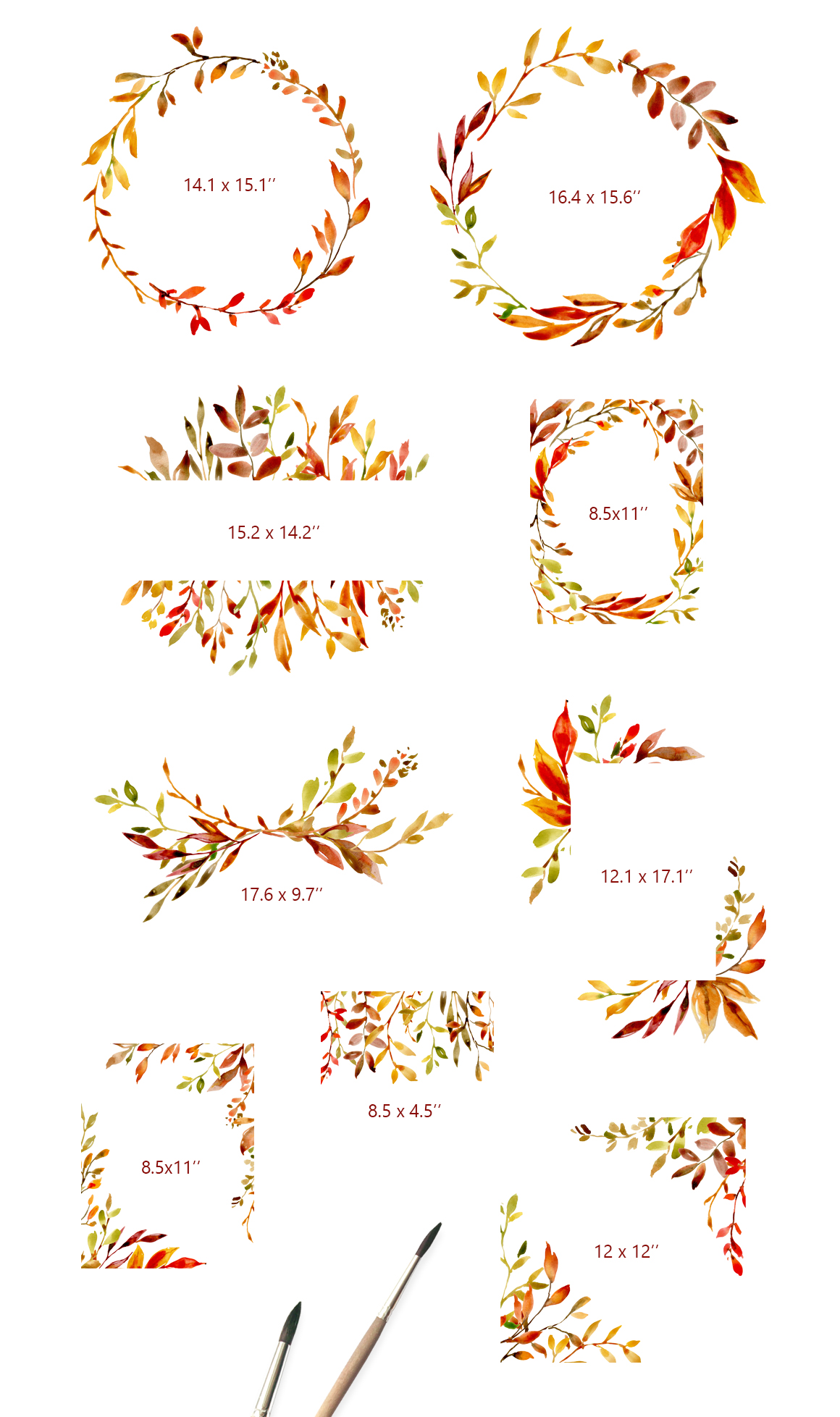Watercolor Autumn Leaves & Branches example image 3