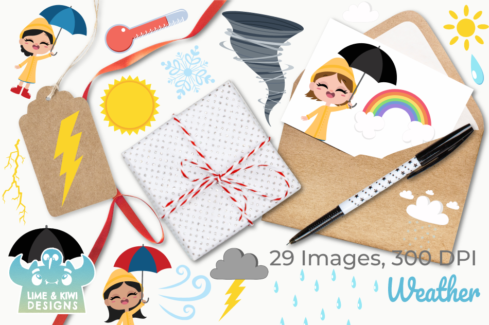 Weather Clipart, Instant Download Vector Art, Commercial Use example image 4
